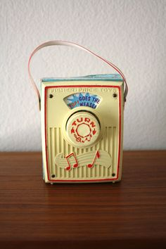 Fisher Price Pocket Radio, Music Box, Pop Goes the Weasel, 1972. $10.00, via Etsy.