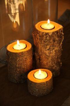 Diy candle holders - top 15 of most awesome ideas diy gift i Tea Candles, Fall Candles, Jardin Decor, Diy Candles Easy, Diy Candle Holders, Creation Deco, Beautiful Candles, A Table, Tea Lights