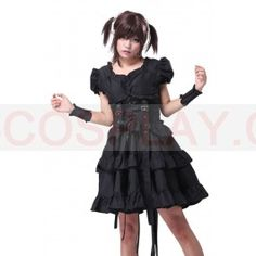 Black Gothic Lolita Victorian Punk Vintage Lace Cosplay Costume Corset Dress xcoser