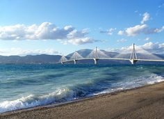 The Rio-Antirrio Bridge connecting Peloponnese with the western mainland of Greece