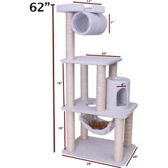 Features:  -Covered in elegant Faux Sheepskin with Sisal Rope wrapped posts that will withstand the toughest claws.  -Multiple levels, a hammock, cubby holes, a dangling rope and a look-out perch high