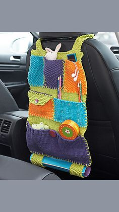 But I will crochet mine! Lily Sugar 'n Cream - Road Trip Car Caddy (free knitting pattern) Crochet Car, Crochet Home, Crochet For Kids, Crochet Crafts, Yarn Crafts, Free Crochet, Crochet Organizer, Crochet Storage, Knitting Patterns Free