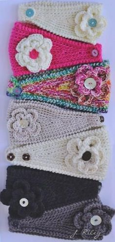 Crochet ear warmers by hellen hattingh hellip Bonnet Crochet, Crochet Headband Pattern, Crochet Beanie, Knit Or Crochet, Crochet Scarves, Crochet Crafts, Crochet Baby, Crochet Projects, Crochet Headbands