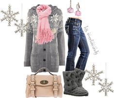 """Pink Snow Flake"" by sweetlikecandycane on Polyvore, black boots instead of ugg boots, match with bangles"