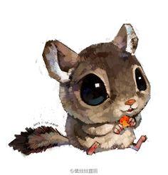 by Xue Wawa Cute Animal Drawings, Cute Drawings, Watercolor Animals, Cute Creatures, Cute Illustration, Cute Baby Animals, Cute Art, Cute Pictures, Chibi