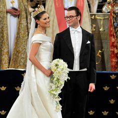 Crown Princess Victoria of Sweden chose a stunning cascade of fragrant white flowers for her lavish nuptials, including lily of the valley, orchids, clematis, peonies, roses and gardenias.