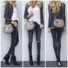 UpCloseAndStylish - Chanel cardigan, James Perse tee, J Brand jeans, Gianvito Rossi boots, Chloe Drew Bag