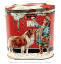 Tinplate embossed sweet tin.  Love the collie holding mail.