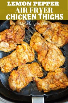 These Air Fryer Lemon Pepper Chicken Thighs are quick, easy, and full of flavor. - These Air Fryer Lemon Pepper Chicken Thighs are quick, easy, and full of flavor. Make juicy chicken - Air Fryer Recipes Breakfast, Air Fryer Oven Recipes, Air Frier Recipes, Air Fryer Dinner Recipes, Air Fryer Recipes For Chicken, Healthy Chicken Thigh Recipes, Air Fryer Chicken Thighs, Air Fryer Chicken Thigh Recipe, Air Fried Food