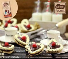 Galletas Corazón de sésamo rellenas de crema de chocolate
