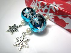 Silver &Turquoise Snowflake Earrings - Shiny Vintage Style Christmas Ball Earrings with Dangly Silver Snowflakes - Festive Christmas Jewelry... #christmasearrings