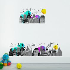 Night Town - Sas and Yosh - Wall Stickers - Wall Decoration - Wall Art - Home decor - Wall Decor - Nursery Decor - Town scene - Nightime Jungle Decorations, Self Adhesive Wallpaper, Nursery Wall Decor, Beautiful Wall, Cool Walls, Wall Colors, Wall Stickers, Decorating Your Home, Vibrant Colors