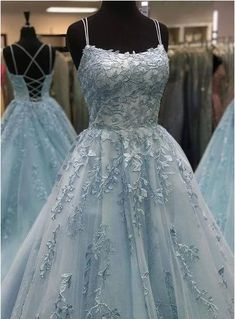 Beautiful A Line Spaghetti Straps Blue Long Prom/Evening Dresses with Appliques - Prom dresses 2020 Pretty Prom Dresses, Prom Dresses Blue, Grad Dresses, Wedding Party Dresses, Homecoming Dresses, Amazing Dresses, Dresses Dresses, Fashion Dresses, Ball Gown Prom Dresses