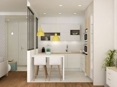 There is no question that designing a new kitchen layout for a large kitchen is much easier than for a small kitchen. Room Interior Design, Apartment Interior, Dining Room Design, Kitchen Interior, Design Kitchen, Dining Rooms, Dining Table, Small Space Kitchen, Small Dining
