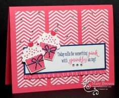 SU! Create a Cupcake and Remembering Your Birthday (sentiment) stamp sets; 2013-2015 InColor DSP stack; colors are Strawberry slush, Midnight Muse and Whisper White - Mary Brown