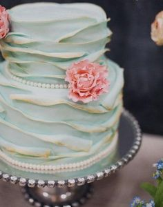 Mint and gold ruffled cake