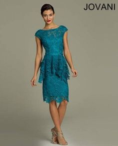 short blue-green lace mother of the bride dress 2014 - I just like the Asymmetrical hem in a peplum