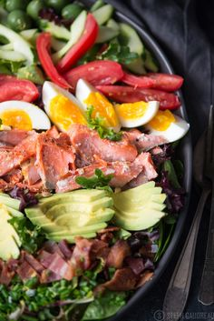 Salmon Cobb Salad is a twist on this American classic made with wild-caught salmon and a vibrant combination of veggies and toppings.