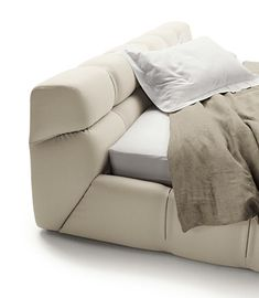 Letto contenitore imbottito matrimoniale in tessuto TUFTY BED by B