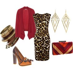 "Original: Tiger, created by lkm555 on Polyvore  New comment: This dress is definitely one of those things that could be ""too sexy"" for my life, but with a jacket the sexiness would be downplayed a bit and I do like the animal prints with that sort of raspberry red, although that exact purse, while nice in itself, isn't right for an outfit that already has a lot of pattern going on."