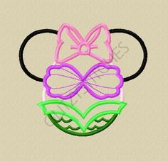 NEW Design - Miss Mouse Little Mermaid Head Applique Embroidery Design 4x4 5x7 6x10 on Etsy, $3.75