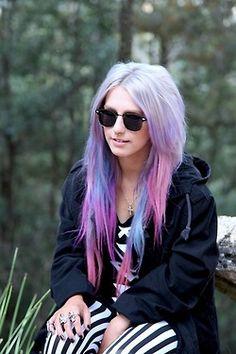 purple hair pastel hair pink hair blue hair lilac hair pastel goth septum piercing