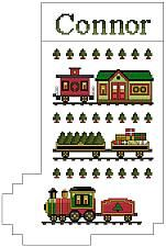 The Christmas Express Stocking - Downloadable counted cross-stitch pattern from Thomas Beutel Original Designs: $4.99