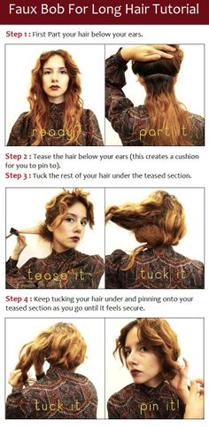 Faux Bob For Long Hair Tutorial- try this even if bobby pins don't work on my hair.