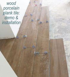 installing wood porcelain plank tile flooring !