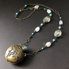 Moonstone and turquoise necklace with Tree of Life bottle