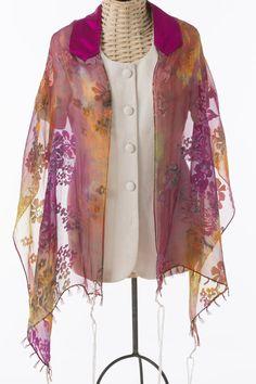 Purple Gold and Fuschia Handmade Silk Tallit by thetallislady