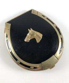 Vintage Compact Horse Lucky Horsehoe Equestrian Unique Vintage   Etsy