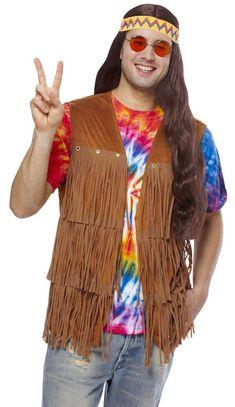 1960s Disco Costume Set Con Colore Hippy Occhiali Marrone Parrucca 1970s