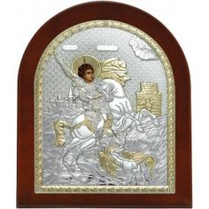 Saint George Silver 925 Orthodox Icon.
