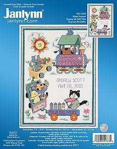 Kitten Express. Cute cross stitch for baby!
