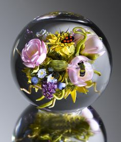 """Paul Stankard Tea Rose Bouquet Cluster with Insects, 2009 4 x 4 x 4"""" Flameworked glass Available"""