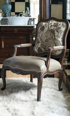Our Montague Armchair captures the enduring beauty of traditional French design. Handcrafted in the Louis XIV style, Montague can embody a masculine or feminine personality based on the upholstery and finish, and is well-suited for an entryway, den or study. | Frontgate Interiors