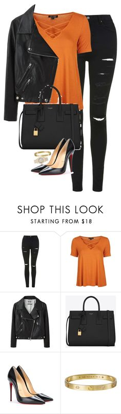 """Untitled #1198"" by lovetaytay ❤ liked on Polyvore featuring Topshop, Acne Studios, Yves Saint Laurent, Christian Louboutin, Giallo and Rolex"