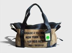 Weekender bag, made from recycled tyre tubes and cacao bean sacks, by SuperEarthGoods on etsy $144