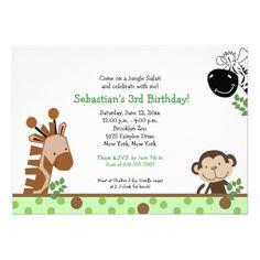 Jungle Adventure Green Birthday Safari Invitation.  $2.15