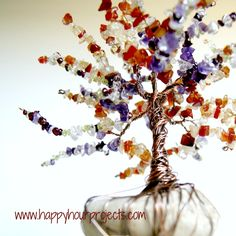 Happy Hour Projects: Wire Wrapped Tree with Birthstone Beads