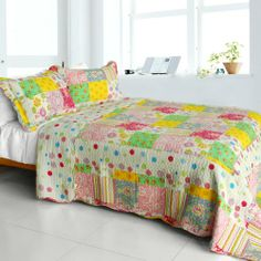 [Colorful Rainbow] Cotton 3PC Vermicelli-Quilted Polka Dot Patchwork Quilt Set (Full/Queen Size) Blancho Bedding,http://www.amazon.com/dp/B00FFTYIZY/ref=cm_sw_r_pi_dp_7P2atb1A4DGH3179