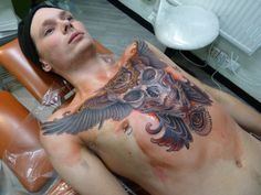 tattoos, chest, skull, owl, eye