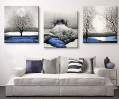 3 Pieces Multi Panel Modern Home Decor Framed Blue Lands Scenery Wall Canvas Art
