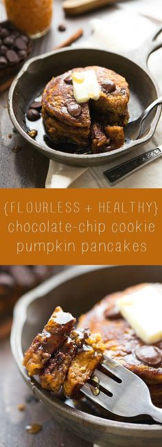 Healthy and FLOURLES Healthy and FLOURLESS pumpkin chocolate-chip cookie pancakes! https://www.pinterest.com/pin/58195020168654493/