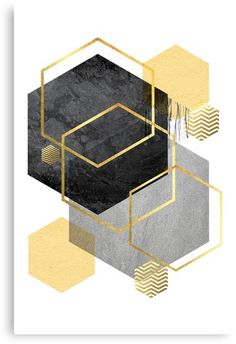Abstract geometric design in yellow, gray, black and gold Geometric Artists, Abstract Geometric Art, Gold Geometric Wallpaper, Cadre Design, Canvas Art, Canvas Prints, Fashion Wall Art, Wall Art Designs, Printable Wall Art