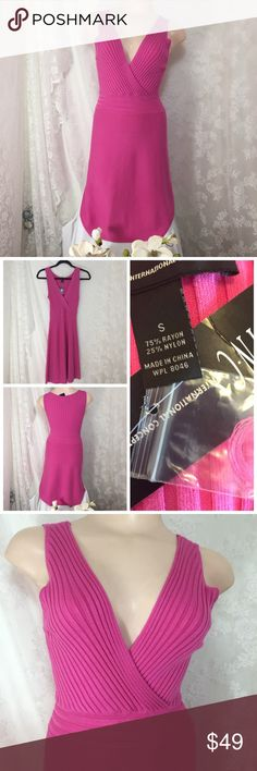 "Inc knit surplice pink dress. B020 Inc knit surplice pink dress. 75% rayon 25% nylon. Stretchy material. 14"" across armpit to armpit. 36"" long INC International Concepts Dresses Midi"