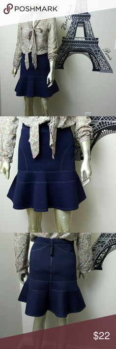 J Crew Cotton Flared Skirt bundle Outfit sale top is from Mango size M. Skirt is from J Crew. Cute and high quality skirt size XS. New without tags. Has a back zipper. Business casual skirt. Navy color skirt. The top is M but fits small and extra small. The top is made of high quality cotton. J. Crew Skirts Mini