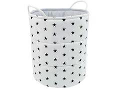 Toy box, Toy Storage, Storage basket, Cotton Toy basket, - Black stars on white Childrens Teepee, Teepee Kids, Teepee Tent, Toy Storage, Storage Baskets, 3 Sprouts, Storing Blankets, Basket Lighting, Toy Basket