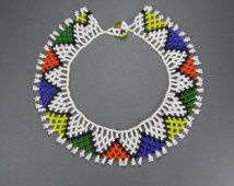 Your place to buy and sell all things handmade Seed Bead Flowers, Seed Beads, African Necklace, African Jewelry, Diy Jewelry, Beaded Jewelry, Xhosa, Cardboard Jewelry Boxes, Beaded Collar